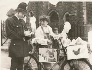 1972 Eifion on the bike with Arwyn as a policeman